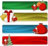 Banderas de Papá Noel el tiempo de la Navidad Imagenes de archivo