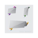 Banderas de papel grises Ilustración del vector Fotografía de archivo libre de regalías