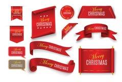 Banderas de papel rojas realistas fijadas Feliz Navidad Ilustración del vector Fotografía de archivo libre de regalías