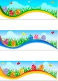 Banderas de Pascua con los huevos de Pascua coloridos ilustración del vector
