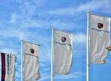 Banderas de Porsche Imagen de archivo libre de regalías