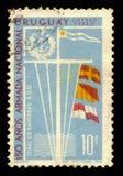 Banderas de señal y emblema de la marina de guerra del nacional de Uruguay Fotos de archivo