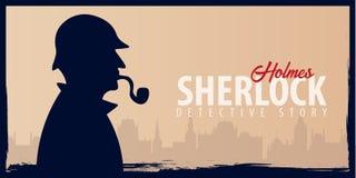 Banderas de Sherlock Holmes Ejemplo detective Ejemplo con Sherlock Holmes Calle 221B del panadero Londres INTERDICCIÓN GRANDE ilustración del vector