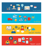 Banderas de Team Work y del negocio Fotografía de archivo