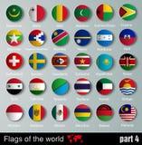 Banderas de todos los países con las sombras Imágenes de archivo libres de regalías