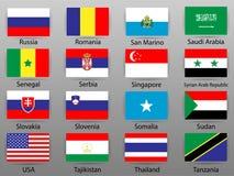 Banderas de todos los países de la parte 9 del mundo ilustración del vector