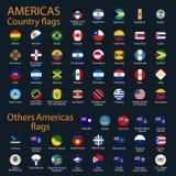 Banderas de todos los pa?ses de los continentes americanos stock de ilustración