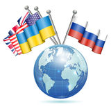 Banderas de Ucrania, de los E.E.U.U., de Reino Unido y de Rusia Foto de archivo libre de regalías