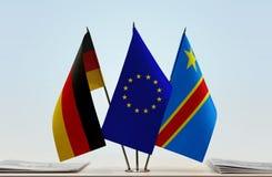 Banderas de UE y del Manual del Transportista de República Democrática del Congo, DROC, Congo-Kinshasa de Alemania imagenes de archivo