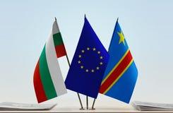 Banderas de UE y del Manual del Transportista de República Democrática del Congo, DROC, Congo-Kinshasa de Bulgaria fotografía de archivo