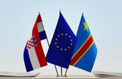 Banderas de UE y del Manual del Transportista de República Democrática del Congo, DROC, Congo-Kinshasa de Croacia imagenes de archivo