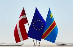 Banderas de UE y del Manual del Transportista de República Democrática del Congo, DROC, Congo-Kinshasa de Dinamarca fotografía de archivo libre de regalías