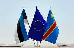 Banderas de UE y del Manual del Transportista de República Democrática del Congo, DROC, Congo-Kinshasa de Estonia foto de archivo