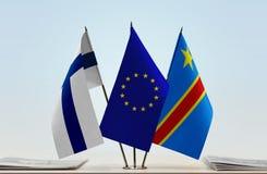 Banderas de UE y del Manual del Transportista de República Democrática del Congo, DROC, Congo-Kinshasa de Finlandia foto de archivo libre de regalías