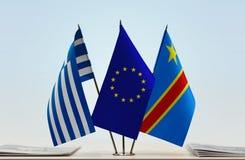 Banderas de UE y del Manual del Transportista de República Democrática del Congo, DROC, Congo-Kinshasa de Grecia fotos de archivo