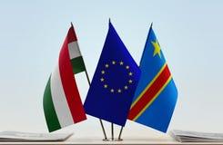 Banderas de UE y del Manual del Transportista de República Democrática del Congo, DROC, Congo-Kinshasa de Hungría imagen de archivo