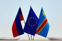 Banderas de UE y del Manual del Transportista de República Democrática del Congo, DROC, Congo-Kinshasa de Liechtenstein fotografía de archivo