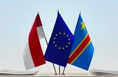 Banderas de UE y del Manual del Transportista de República Democrática del Congo, DROC, Congo-Kinshasa de Mónaco imágenes de archivo libres de regalías