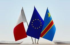 Banderas de UE y del Manual del Transportista de República Democrática del Congo, DROC, Congo-Kinshasa de Malta imágenes de archivo libres de regalías