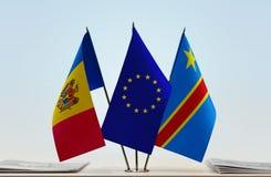 Banderas de UE y del Manual del Transportista de República Democrática del Congo, DROC, Congo-Kinshasa del Moldavia imagen de archivo libre de regalías