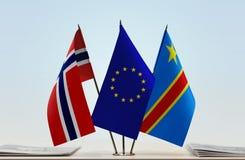 Banderas de UE y del Manual del Transportista de República Democrática del Congo, DROC, Congo-Kinshasa de Noruega imágenes de archivo libres de regalías