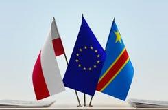 Banderas de UE y del Manual del Transportista de República Democrática del Congo, DROC, Congo-Kinshasa de Polonia imagen de archivo