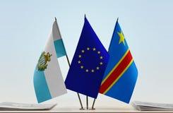 Banderas de UE y del Manual del Transportista de República Democrática del Congo, DROC, Congo-Kinshasa de San Marino fotografía de archivo libre de regalías