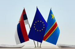 Banderas de UE y del Manual del Transportista de República Democrática del Congo, DROC, Congo-Kinshasa de Serbia fotografía de archivo libre de regalías