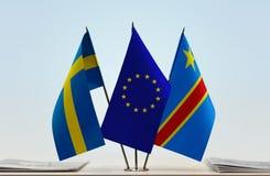 Banderas de UE y del Manual del Transportista de República Democrática del Congo, DROC, Congo-Kinshasa de Suecia fotografía de archivo