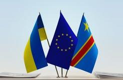 Banderas de UE y del Manual del Transportista de República Democrática del Congo, DROC, Congo-Kinshasa de Ucrania foto de archivo libre de regalías