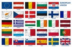 Banderas de unión europea Fotos de archivo