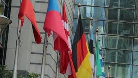 Banderas de unión europea, países Bulgaria, Checo Alemania, Dinamarca metrajes