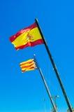 Banderas de Valencia y de España Fotografía de archivo libre de regalías