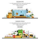 Banderas del acuario y de los utensilios de jardinería en estilo plano Elementos del diseño del vector, iconos Imagenes de archivo