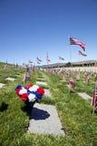 Banderas del ataúd en el cementerio nacional fotografía de archivo