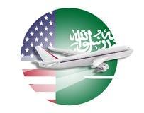 Banderas del avión, de Estados Unidos y de la Arabia Saudita Imagenes de archivo