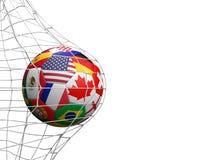Banderas del balón de fútbol de los E.E.U.U. México Canadá 3d-illustration Stock de ilustración