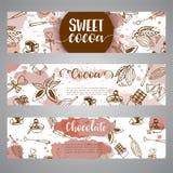 Banderas del bosquejo del cacao del chocolate Diseñe el menú para el restaurante, tienda, confitería, culinaria, café, cafetería, stock de ilustración