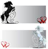 Banderas del caballo de la parte posterior de la tarjeta del día de San Valentín del St blancos y negros Imágenes de archivo libres de regalías