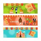 Banderas del circo con los elementos planos de la diversión Imagenes de archivo