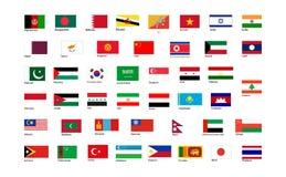 Banderas del continente de Asia con nombres stock de ilustración
