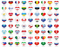 Banderas del corazón Fotografía de archivo