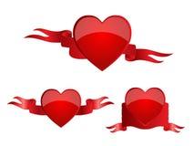 Banderas del corazón rojas Fotografía de archivo