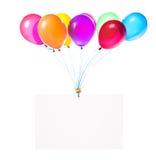 Banderas del día de fiesta con los globos coloridos Foto de archivo libre de regalías