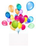 Banderas del día de fiesta con los globos coloridos Fotos de archivo