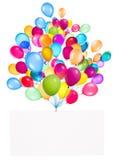 Banderas del día de fiesta con los globos coloridos Imagen de archivo libre de regalías