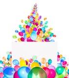 Banderas del día de fiesta con los globos coloridos Fotografía de archivo libre de regalías