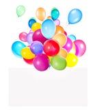 Banderas del día de fiesta con los globos coloridos Imagenes de archivo