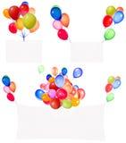 Banderas del día de fiesta con los globos coloridos Fotografía de archivo