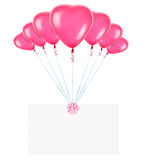 Banderas del día de fiesta con los globos de la tarjeta del día de San Valentín Fotografía de archivo libre de regalías